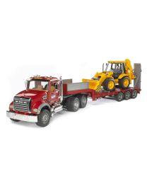 MACK Granite Flatbed Truck with JCB Loader Backhoe
