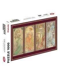 The Four Seasons, Alphonse Mucha, 1000 Piece Metallic Puzzle