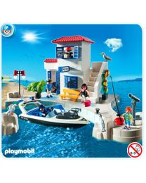 Harbor Police Station with Speedboat