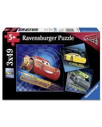 CARS 3, 3 x 49 Piece Puzzles