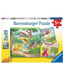 Rapunzel, Little Red Riding Hood, and The Frog Prince, 3 x 49 Piece Puzzles