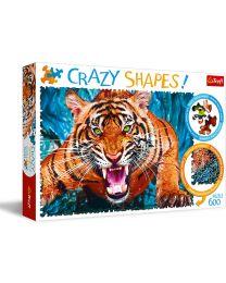 Facing a Tiger, 600 Piece Crazy Shapes Puzzle